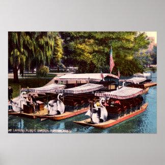 Boston Massachusetts Boat Landing, Public Garden Poster