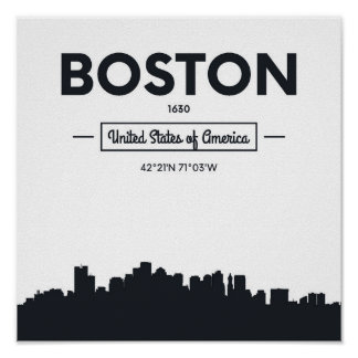 Boston, Massachusetts | City Coordinates Poster