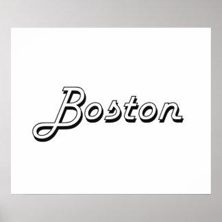 Boston Massachusetts Classic Retro Design Poster