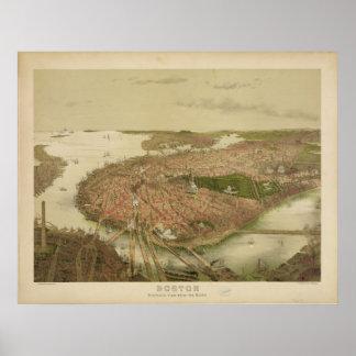 Boston Massachusetts in 1877 North Birds Eye View Poster