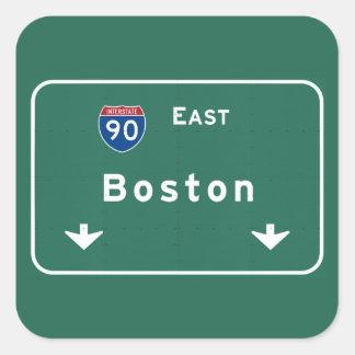 Boston Massachusetts ma Interstate Highway Road : Square Sticker