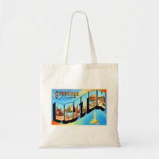 Boston Massachusetts MA Vintage Travel Souvenir Tote Bag