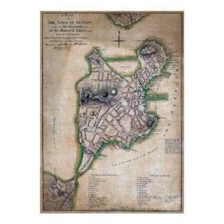 Boston Massachusetts Map 1775 by Thomas Hyde Page Poster