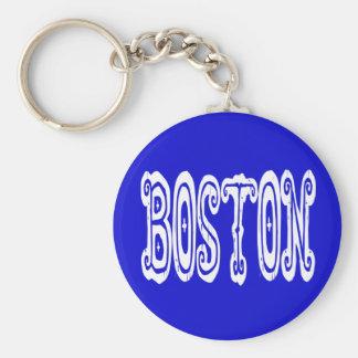 Boston Massachusetts New England Blue & White USA Keychain