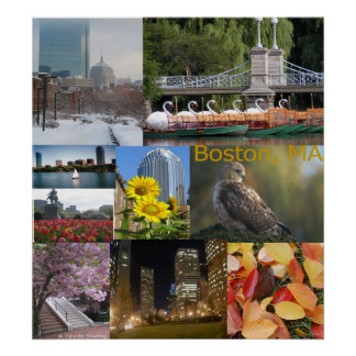 Boston, Massachusetts Photo Collage Poster
