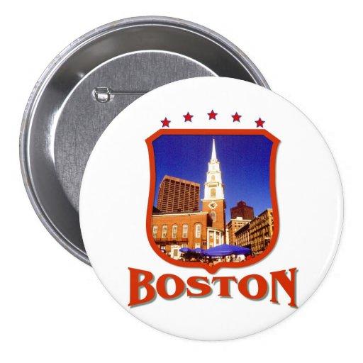 Boston Massachusetts Pin Redondo De 3 Pulgadas
