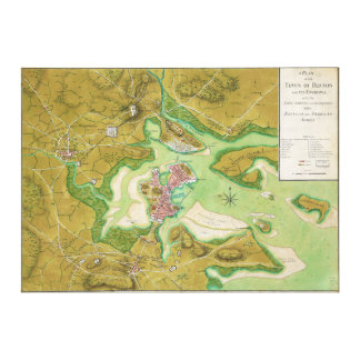 Boston Massachusetts Revolutionary War Map Gallery Wrap Canvas