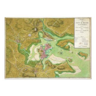 Boston Massachusetts Revolutionary War Map Card