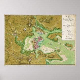 Boston Massachusetts Revolutionary War Map Poster