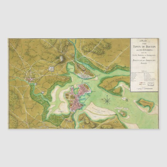 Boston Massachusetts Revolutionary War Map Rectangular Sticker