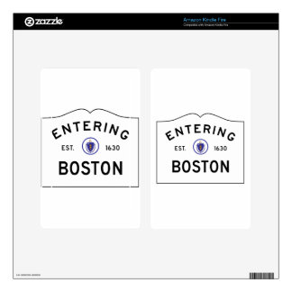 Boston Massachusetts Road Sign Kindle Fire Decals