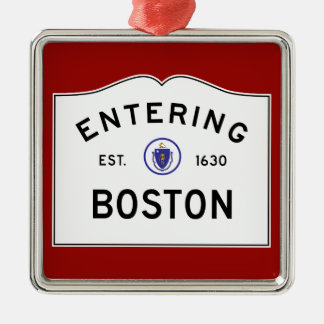 Boston Massachusetts Road Sign Metal Ornament- Red Metal Ornament