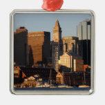 Boston, Massachusetts skyline 5 Square Metal Christmas Ornament