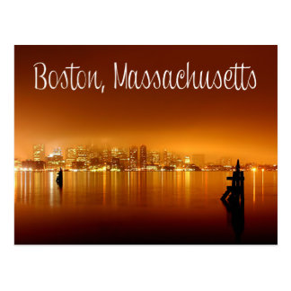 Boston, Massachusetts, Skyline At Night Post Card