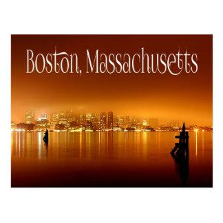 Boston, Massachusetts, Skyline At Night - USA Postcard