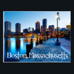 "Boston Massachusetts Skyline at Sunset  Post Card<br><div class=""desc"">Welcome to Boston, Massachusetts! Once you arrive you will never want to leave. This postcard features the beautiful historic Boston Skyline at sunset with the lights dancing on the Charles River. Travel Postcards are economical and can be used for many occasions such as: Vacation Souvenirs Business promotional campaigns Greeting and...</div>"