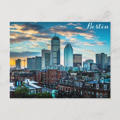 Boston Massachusetts Skyline Panoramic Travel Postcard