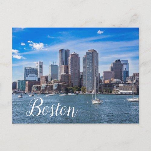 Boston Massachusetts Skyline Postcard Waterfront