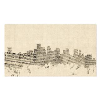 Boston Massachusetts Skyline Sheet Music Cityscape Business Card