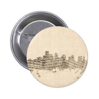 Boston Massachusetts Skyline Sheet Music Cityscape 2 Inch Round Button