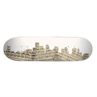 Boston Massachusetts Skyline Sheet Music Cityscape Custom Skate Board