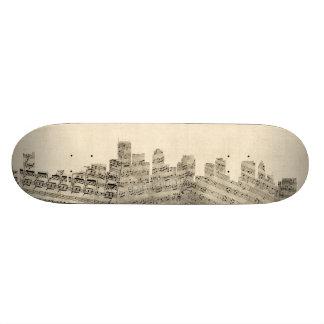 Boston Massachusetts Skyline Sheet Music Cityscape Skateboards