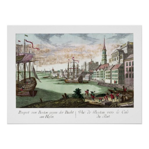 Boston Massachusetts View from Bay VINTAGE Print