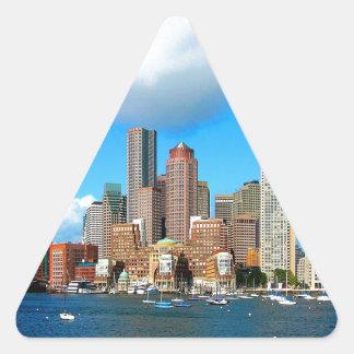 boston Massachusetts water and skyline Triangle Sticker