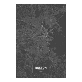 Boston, Massachusetts (white on black) Poster