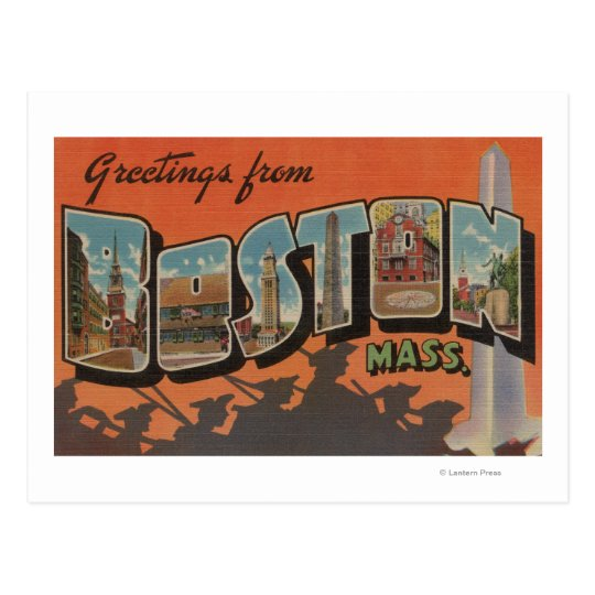 Boston, MassachusettsLarge Letter Scenes Postcard