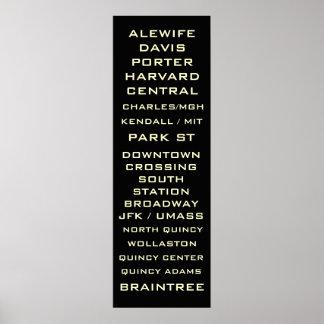 Boston Metro Subway Sign Art - Redline Poster