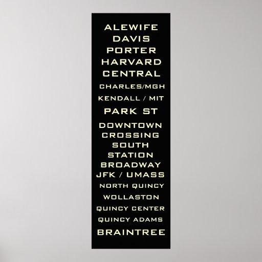 Boston Metro Subway Sign Art - Redline Print
