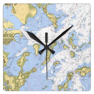 Boston Nautical Map clock