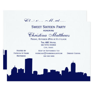 Boston Navy Skyline Silhouette Sweet 16 Party Card