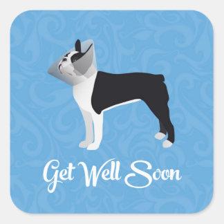 Boston negra Terrier consigue el perro pronto Pegatina Cuadrada