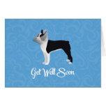Boston negra Terrier consigue el perro pronto Tarjeta De Felicitación