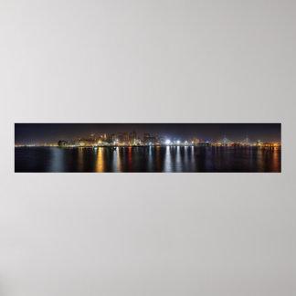 Boston Night Skyline Posters