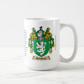 Boston nombra, el origen, el significado y el taza de café