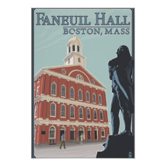 Boston, opinión de MassachusettsFaneuil Pasillo Póster