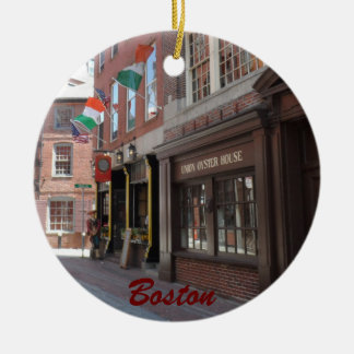 Boston Double-Sided Ceramic Round Christmas Ornament