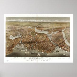 Boston Panoramic Map 1898 Poster