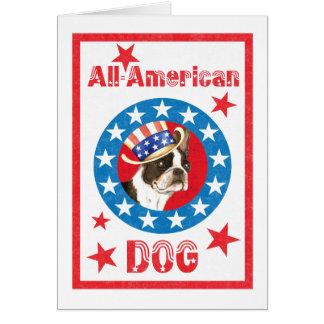 Boston patriótica Terrier Tarjeta De Felicitación