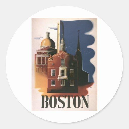 Boston Pegatina Redonda