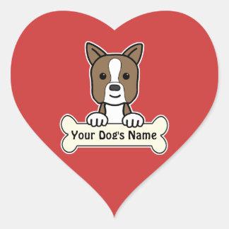 Boston personalizada pegatina en forma de corazón