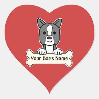 Boston personalizada Terrier Pegatina En Forma De Corazón