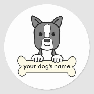 Boston personalizada Terrier Pegatina Redonda