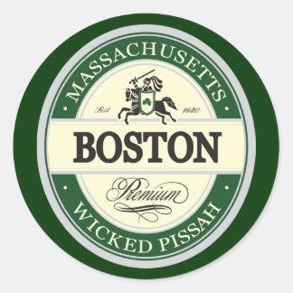 Boston - pissah travieso pegatina redonda