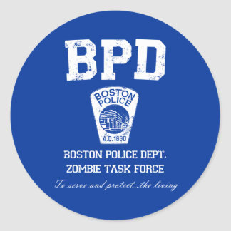 Boston Police Department Zombie Task Force Classic Round Sticker