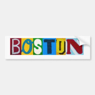 Boston pone letras a la pegatina para el pegatina para auto