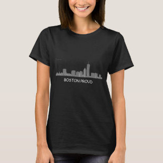 Boston Proud - Boston Skyline as bar chart - geek T-Shirt